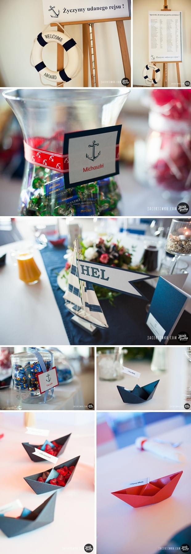ślub w stylu żeglarskim pomysły zdjęcia dekoracje stołów