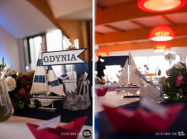 ślub w stylu żeglarskim pomysły zdjęcia dekoracje sali hotel ibis w redzie