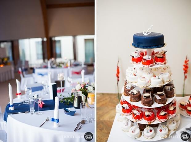 ślub w stylu żeglarskim pomysły zdjęcia tort w stylu żeglarskim