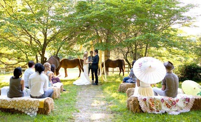 wiejskie rustykalne wesele w plenerze na wsi