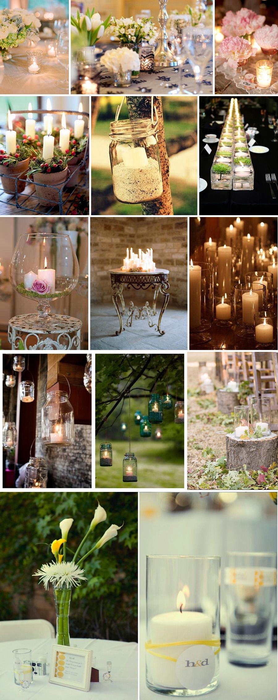 6 świeczki dekoracje na sali weselnej