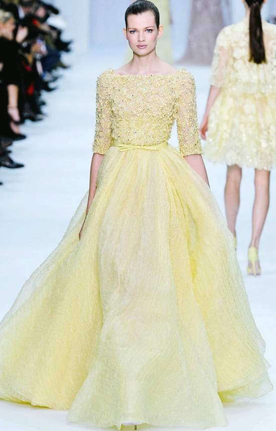 EllieSaab2012 żółta suknia ślubna żółta suknia dla druhny świadkowej ślub żółty kolor wesele