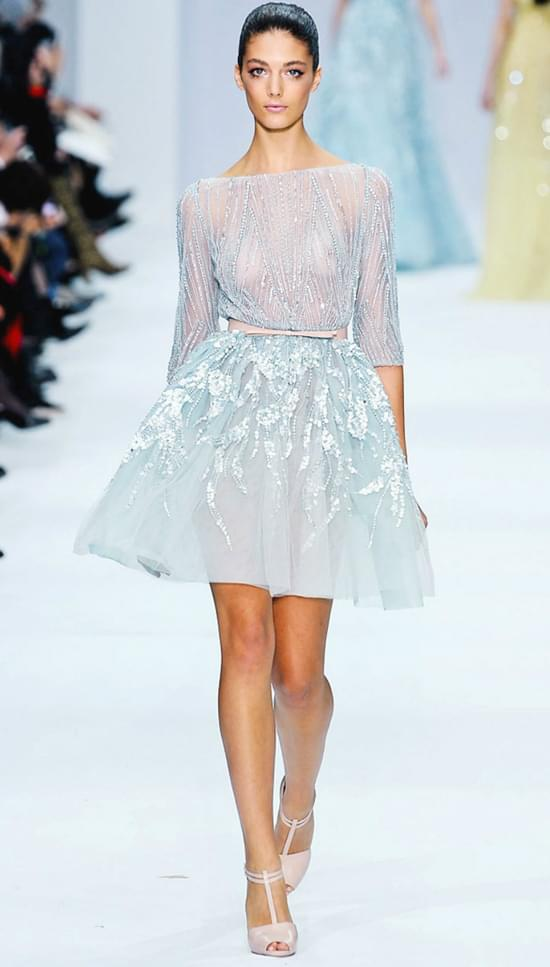 EllieSaab krótka niebieska suknia slubna