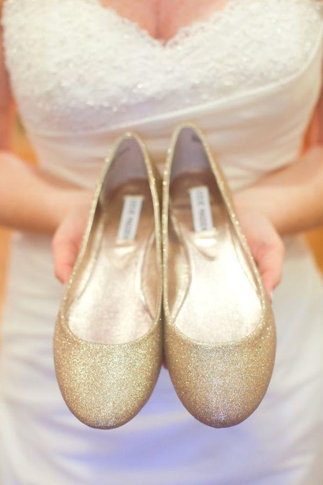 złote baleriny ślub zdjęcie
