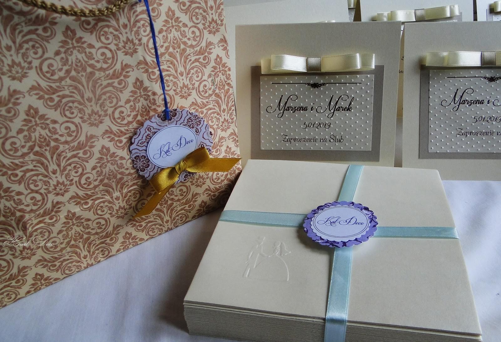 Kart-Deco zaproszenia ślubne, komunijne, na chrzest, ręcznie robione, papeteria slubna, z papieru, hand made scrapbooking