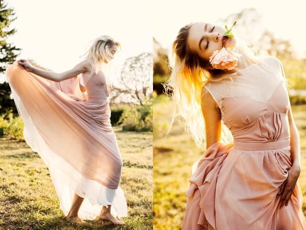 blush pudrowy róż suknia ślubna