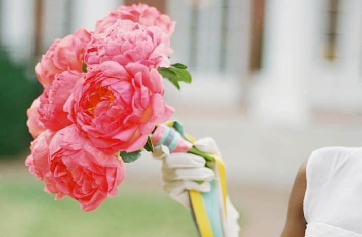 różowe piwonie peonie do ślubu bukiet