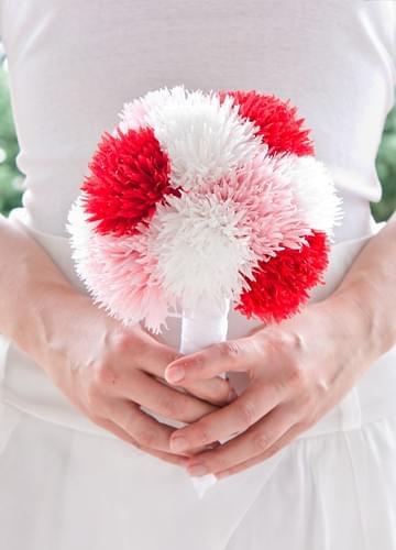 bukiet rosa różowy ręcznie robione bukiety z bibuły z papieru ślub rękodzieło