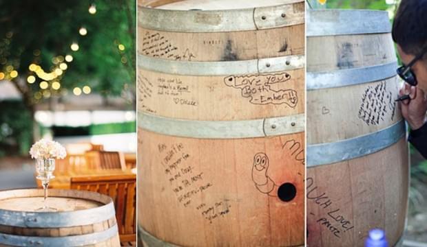dekoracje winiarnia wino skrzynie beczki