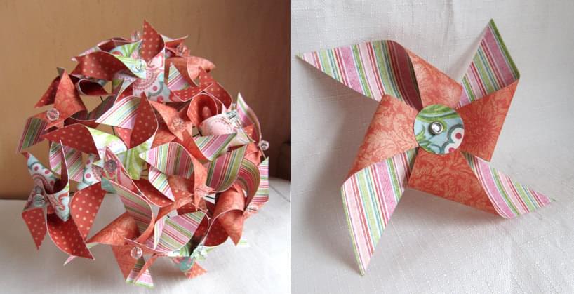 wiatraczki na ślub i wesele bukiet z papieru butonierka z papieru wiatraczek