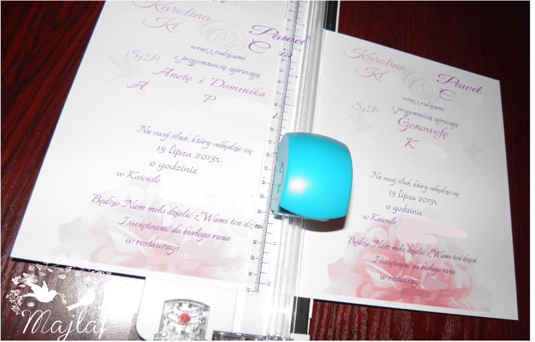 gilotyna do papiero ślubne DIY