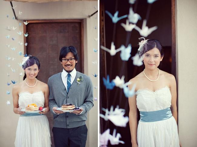 sesja papierowe dekoracje dodatki origami niebieskie białe