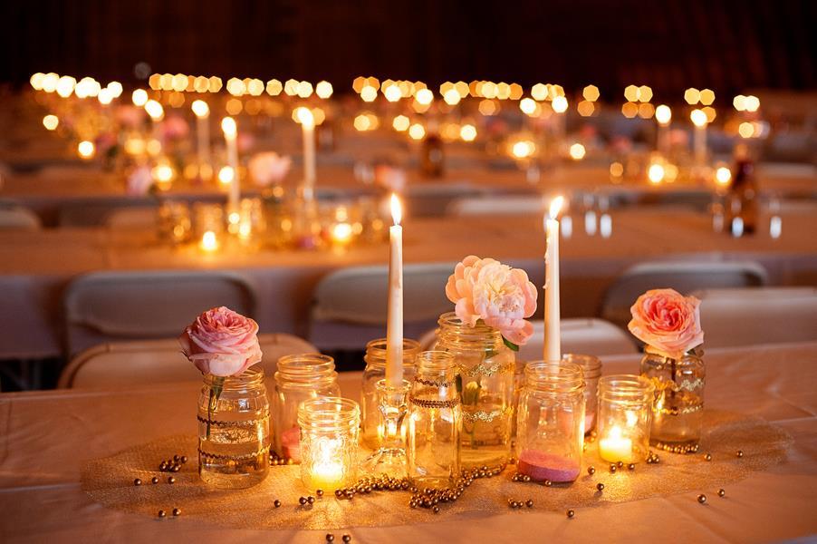 świece dekoracje ślub jesienią