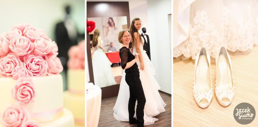 buty ślubne gdynia, tort ślubny, suknia