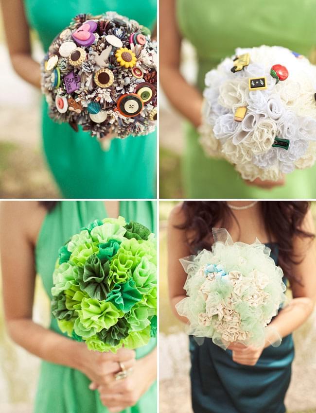 bukiet z papieru bukiet z broszek bukiet z materiały ślub