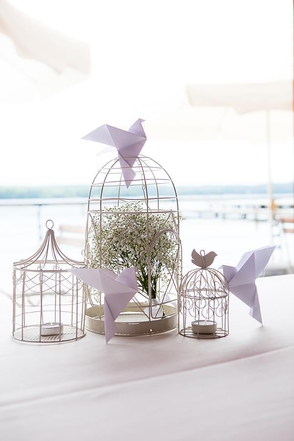 ptaki klatki wesele dekoracje sali pleneru