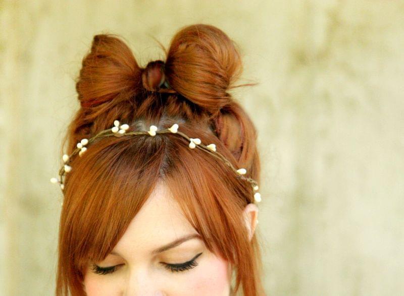 kokarda z włosów ślubne fryzury