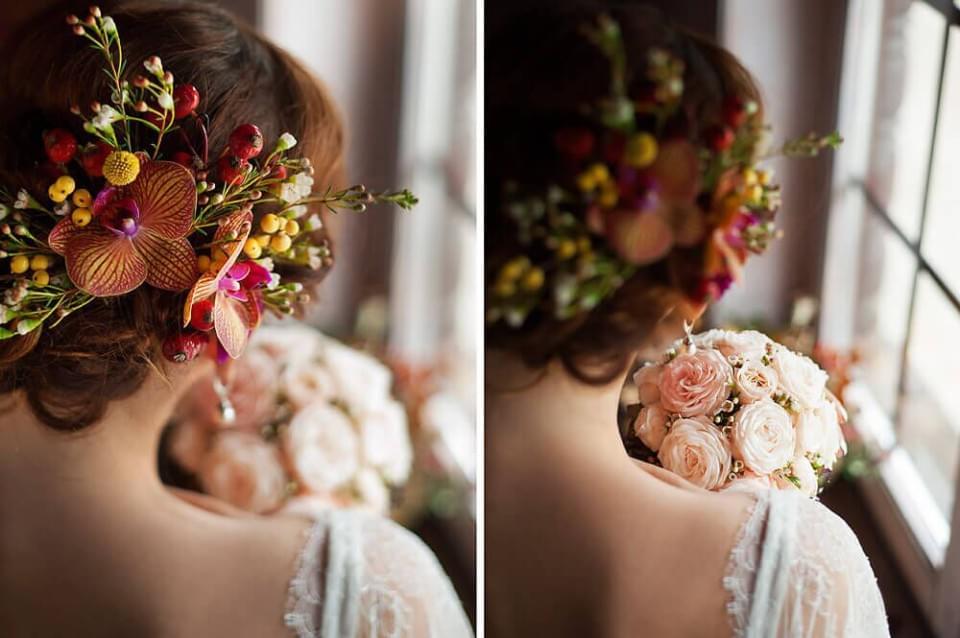 kwiaty we wlosach paleta kolorw panna mloda