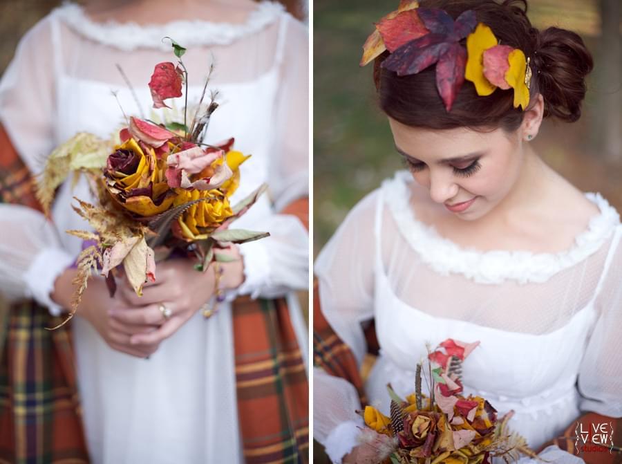 liście jesienne bukiet ślubny