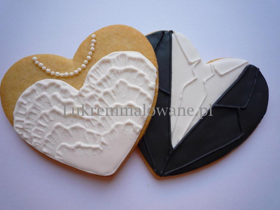 lukrem malowane ciasteczka na ślub i wesele