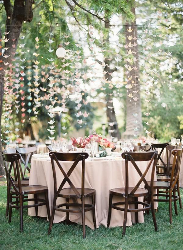 plenerowy ślub i wesele dekoracje papierowe origami