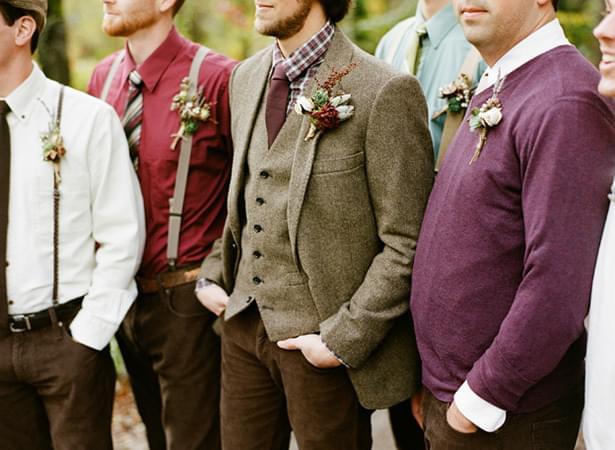pan młody tweedowa marynarka sweter jesienny ślub