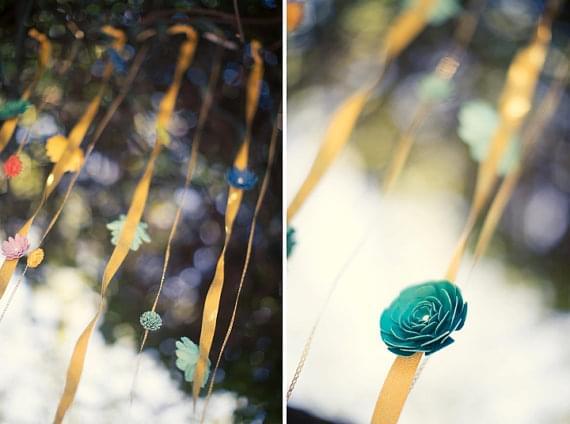 papierowe kwiaty dekoracje sali