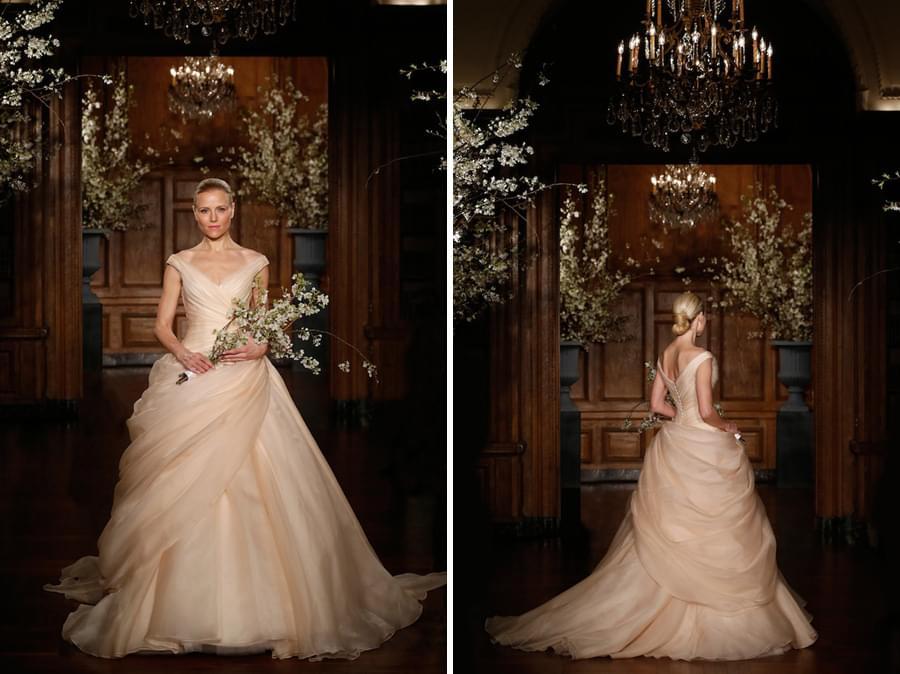 romona keveza suknie slubne 2014 brzoskwiniowa suknia