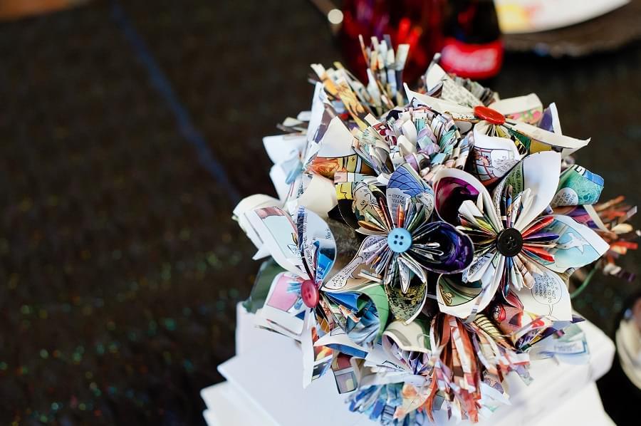 ślubna wiązanka z papieru