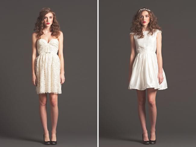sarah seven fall 2013 jesienna kolekcja sukni ślubnych krótka suknia romantyczna fryzura