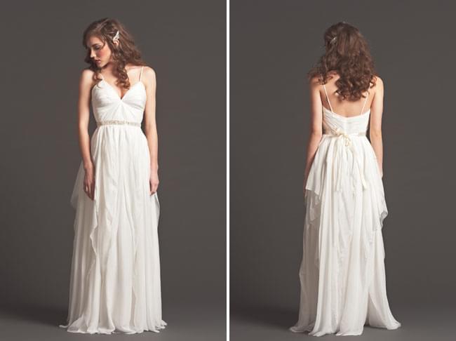 sarah seven fall 2013 jesienna kolekcja sukni ślubnych długa boho suknia romantyczna fryzura