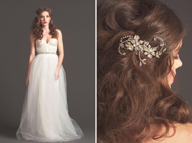 sarah seven fall 2013 jesienna kolekcja sukni ślubnych romantyczna fryzura