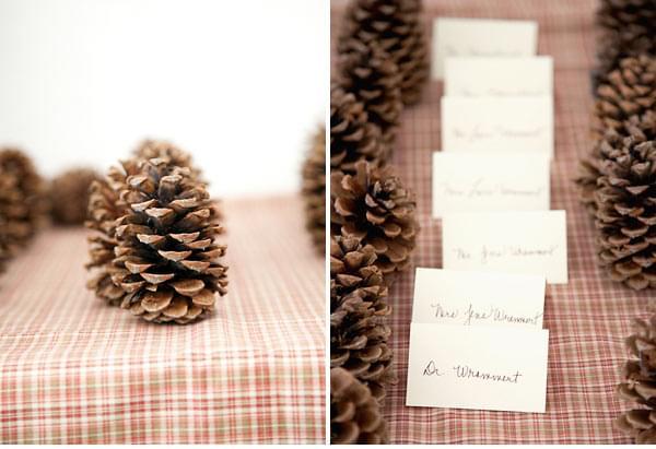 pomysły na dekoracje zimowe szyszki