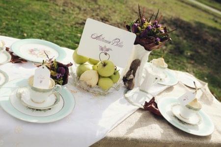 dekoracje z jabłek owocowy bufet wesele