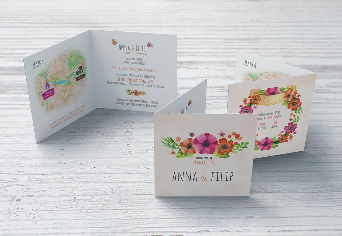 Zaproszenie Kwiaty w akwareli: Ślub & Papier