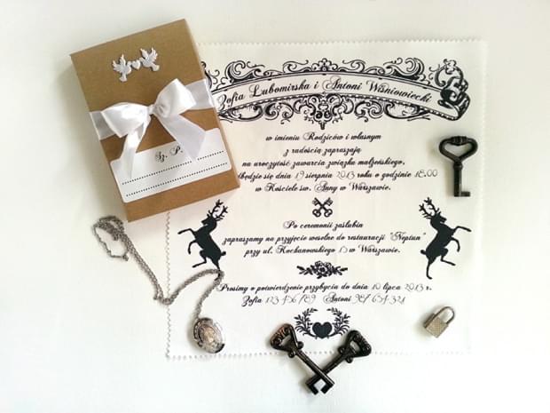 bawełniane zaproszenia ślubne na serwetkach mocem zdjęcie