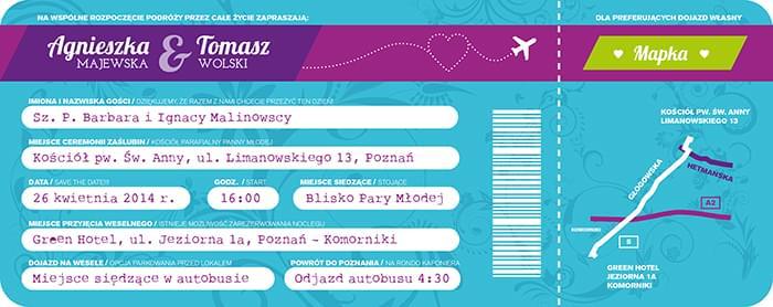 zaproszenie jak bilet lotniczy zdjęcie