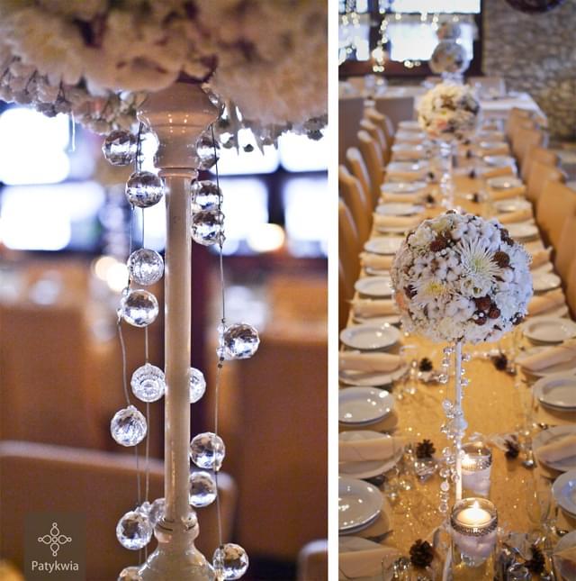 zimowe wesele dekoracje