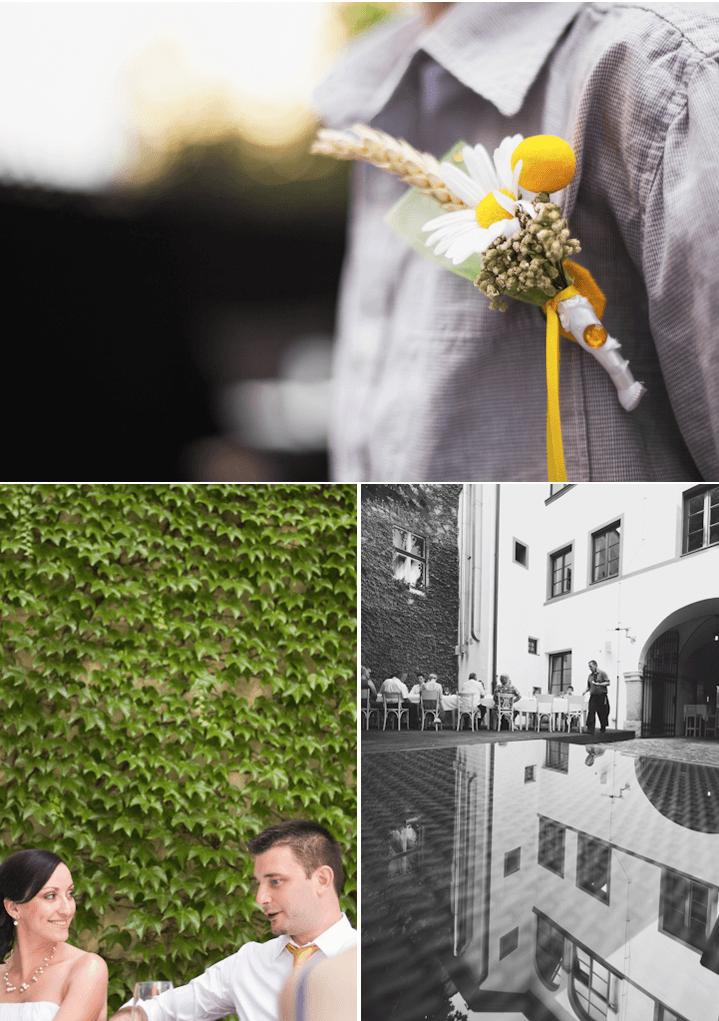 żółte dodatki ślub bukiet butonierka