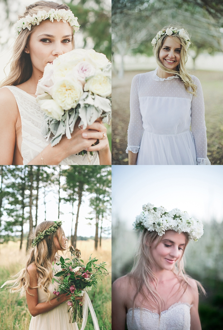 romantyczny wianek z żywych kwiatów zdjęcie