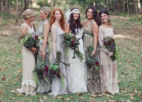 szare boho suknie ślub panna młoda druhny świadkowa
