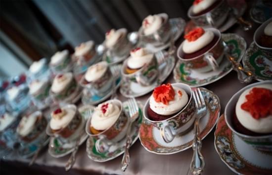 muffinki na wesele vintage dekoracje filiżanki