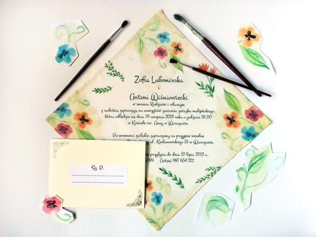 zaproszenia ślubne na serwetkach mocem zdjęcie