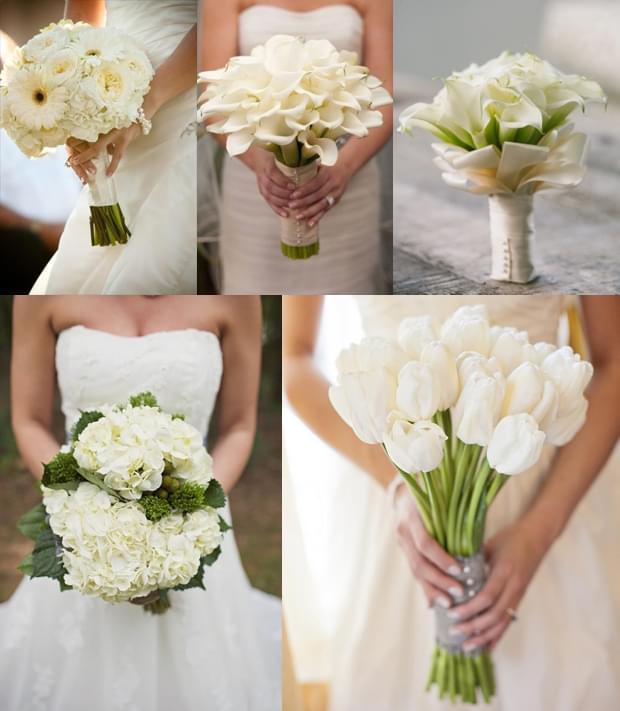 białe bukiety ślubny