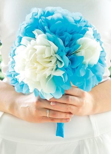 bukiet modry z bibuły z papieru