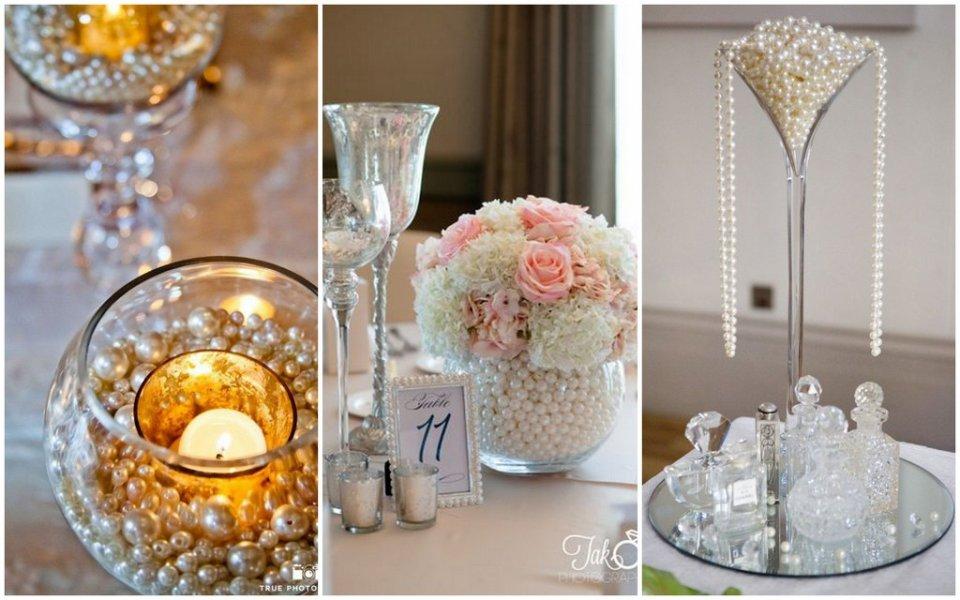 dekoracje z pereł wesele zdjęcie