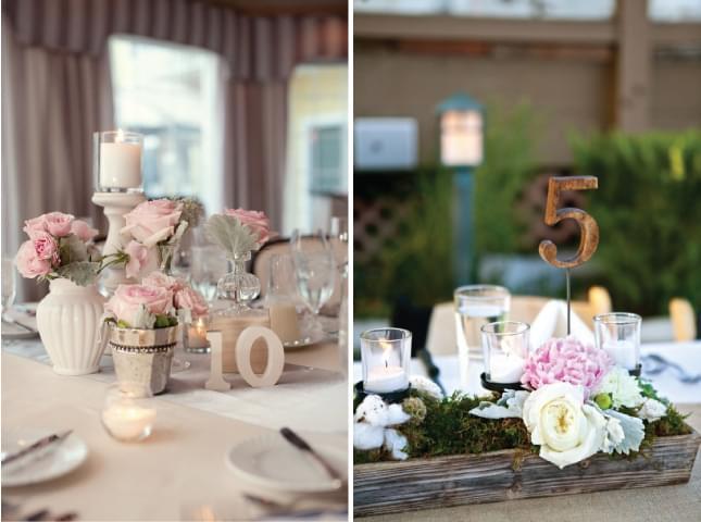 drewniane numery stołów