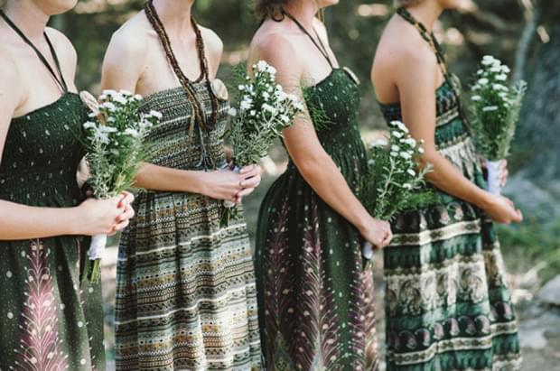druhny sukienki bukiety zielone leśny motyw