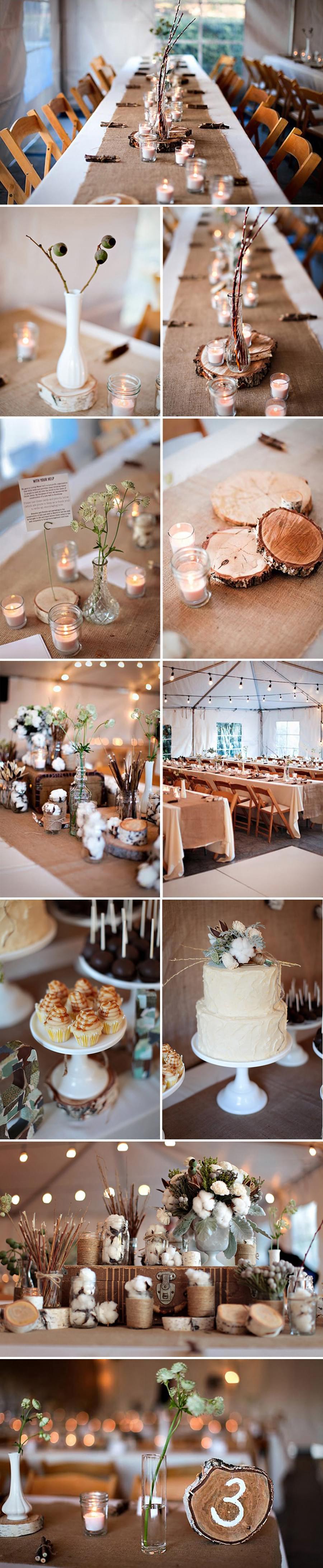 ekologiczny ślub i wesele drewniane dekoracje z drzewa i gałęzi
