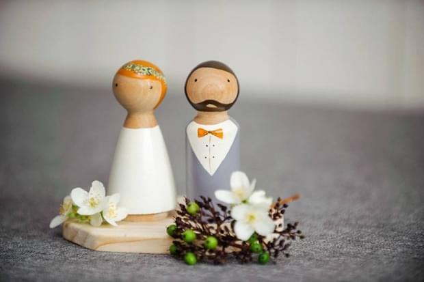 figurki na tort z drewna